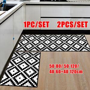 New 2PCS Non-Slip Kitchen Floor Area Rug Bathroom Carpet Waterproof Door Mat !