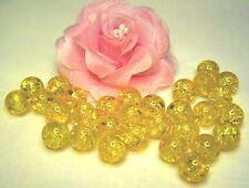 0,07€/Stk 50 Glas-Crash-Perlen Crackle 10mm gelb gebrochen Beads Neu