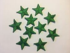 """Iron On Green Star Embroidered Appliques 1 3/8"""" (35mm)  10 pieces per package"""