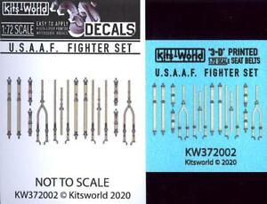 Kits World Decals 1/72 3D SEAT BELT SET for U.S.A.A.F. WWII FIGHTERS