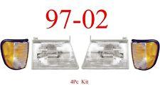 97 02 Ford Econoline 4Pc Head & Side Parking Light Kit, E150, E250 E350