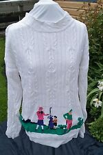 Stanley Blacker Ladies  L HAND KNITTED WHITE GOLF sweater COTTON size Large