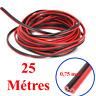 Câble Haut Parleur MEPLAT sous Gaine Noire Rouge 2 x 0.75 mm² Long 25 Métres