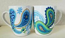 Royal Norfolk Lot of 2 Blue Paisley Coffee Mug Cups Stoneware New Modern (1)