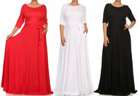 Solid Jersey Fit Flare Belted Maxi Dress Side Pocket Full Sweep Long Skirt