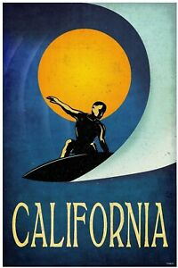 California Surfer Metal Sign New Vintage Repro USA Retro Surfing Beach Ocean