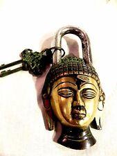 VINTAGE GARDEN LOCK FUNCTIONAL ANTIQUE BRASS BUDDHA PAD LOCK WITH TWO KEYS