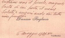 BUSTA CON BIGLIETTO DA VISITA DI DIONISIO BOGLIORIO DI TOIRANO 1939 C5-485