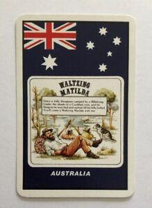 Vintage Australian Waltzing Matilda Swap Playing Card Swagman Billabong Flag