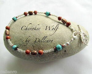 ✫CHEROKEE WOLF✫ TURQUOISE & GOLDSTONE GEMSTONE ANKLE CHAIN ANKLET ANKLE BRACELET