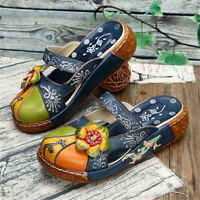 SOCOFY Women Genuine Leather Shoes StitchingPrinting Backless Sandals Slippers