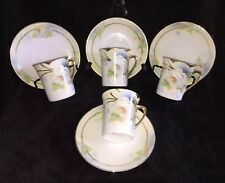 4 Chocolate Cups & Saucers Royal Rudolstadt Prussia, Painted Roses, c.1930, Rare