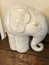 "Large Ceramic Elephant Figurine Cream Has Flowers on Him 11 and 1/2"" Tall"
