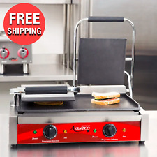 Heavy Duty Commercial Kitchen Panini Sandwich Grill Press Double Smooth Griddle