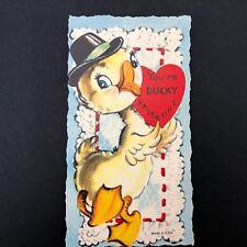 Valentines Card Vtg 50s 60s Die Cut Baby Duck Ephemera Greeting Top Hat Usa
