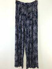 NEXT navy blue boho paisley floral print stretch jersey wide leg trousers size 6