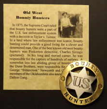 Old West US Bounty Hunter Badge, western, silver and gold tone