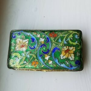 Vintage Chinese Brass Enamel Turquoise Cloisonne Floral Postage Stamp pill Box