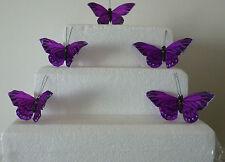 9 Viola reale FARFALLE Piuma circa 10 cm per Craft/Torte/Natale/Tutti Decor