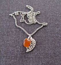 Shaped Pendant Chain Metal Necklace Unused Vintage 70s Genuine Agate Stone Heart