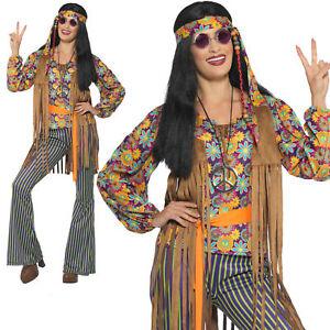 60's Singer Costume Ladies Hippie Hippy 1960s Fancy Dress Outfit UK 8-18