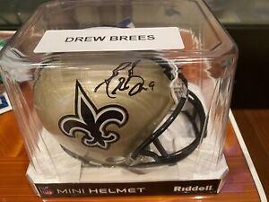 Drew Brees Mini Helmet signed Auto Saints Beckett Certified