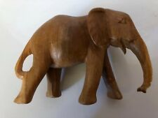 Vintage Elephant Figurine Sculpture Solid Wood Hand Carved Statue