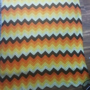 "Handmade Crocheted Afghan Blanket Orange Ripple Zig Zag Fall Colors 110"" x 43"" ("