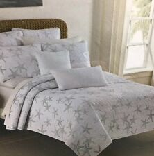 SIGRID OLSEN Tropical Silver STARFISH Twin Quilt Beach Ocean Metallic White NEW
