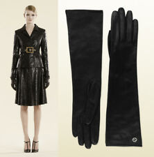 $795 GUCCI LONG GLOVES BLACK LEATHER GG LOGO OPERA EVENING 331843 sz 7.5