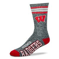 Wisconsin Badgers NCAA Got Marbled Crew Socks by For Bare Feet - Large