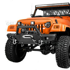 Rock Crawler Super HD Front Bumper+Winch Plate+2x LED for 97-06 Jeep Wrangler TJ