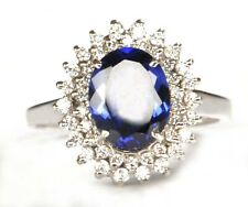 925 Sterling Silver 2.00 Carat Oval Shape Natural Blue Tanzanite Engagement Ring