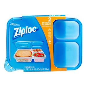 Brand New Ziploc DIVIDED Rectangle Food Storage Lunch Box Containers -Set Of 2-