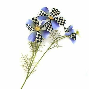 Mackenzie Childs COURTLY CHECK COSMOS AMETHYST Floral Stem SPRAY Flower m21-jl