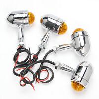 4x 12V Motorcycle Chrome Turn Signal Light Amber Bullet LED Indicators Blinker