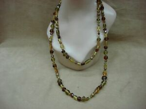 VINTAGE 1980'S ERA MOLDED AMBER & YELLOW GLASS BEAD 2 STRAND NECKLACE!