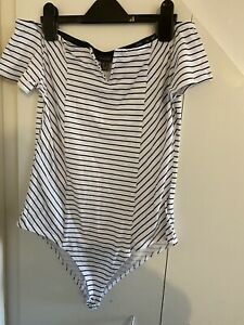 Womens Body Suit Striped Size Small Off Shoulder