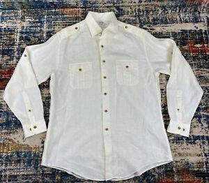 Brooks Brothers 100% Irish Linen Off White Epaulet Shoulder Horn Button Shirt L