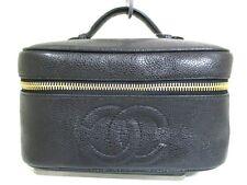 Authentic CHANEL Black Caviar Skin Make-Up Bag w/ Guarantee 4482177