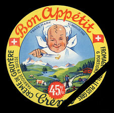 Vintage Cheese Fromage Label: Bon Appetit Creme Gruyere Fabrique En Suisse