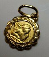 18k Gold 750 Italy Raphael Guardian Angel Cherub Medal Charm Pendant 1.5 gram