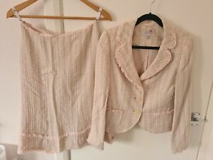 NEXT 2 Piece Skirt Suit Set Pink Tweed Boucle Fringe Skirt Blazer UK 8