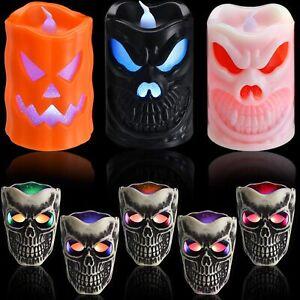 8 Pieces Halloween LED Skull Light Skull Candle Tea Lights Flickering Color
