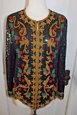 Vintage 80s 90s Rina Z Beaded Sequin Silk Blouse Top Small Black Sleeves Jacket