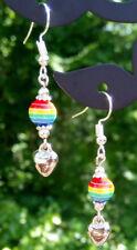 Gay Pride LGBT rainbow heart love dangle earrings