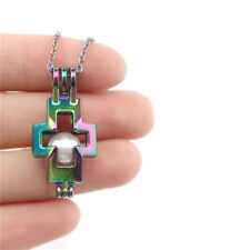 C513 Beads Cage Rainbow Color Faith Cross Charms Locket Necklace 18""