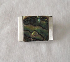 Retro Metal & Abalone Shell Brooch Signed Exquisite