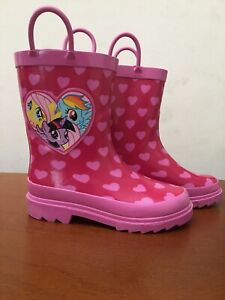 My Little Pony Rubber Rain Boots Pink,Hearts MLP Kids Shoes Size 11 EUC