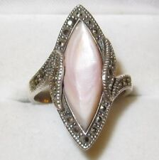 "Vintage Art Deco 925 Sterling Silver Marquise Pink MOP & Marcasites Ring UK ""N"""